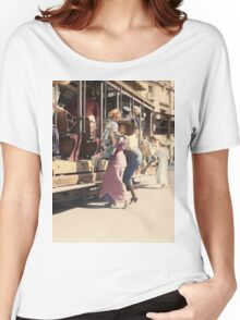 Mother helps her child off trolley in NYC — Colorized Women's Relaxed Fit T-Shirt