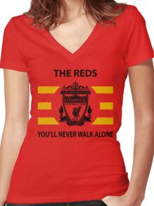 Liverpool - Ynwa - The Reds Women's Fitted V-Neck T-Shirt