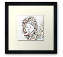 Woman in Blowing Scarf Framed Print