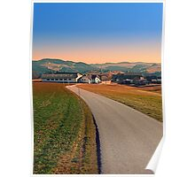 Country road into beautiful panorama | landscape photography Poster