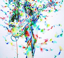 JIMMY PAGE PLAYING THE GUITAR - watercolor portrait by lautir