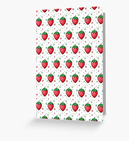 Pixel Fruits - Strawberry Edition Greeting Card