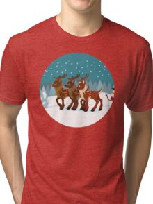 Reindeer in the Snow Tri-blend T-Shirt