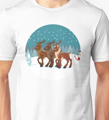 Reindeer in the Snow Unisex T-Shirt