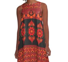 hearts n flowers black and red A-Line Dress