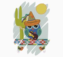 Cute Sombrero Owl with a Guitar One Piece - Short Sleeve