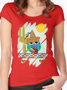 Cute Sombrero Owl with a Guitar Women's Fitted Scoop T-Shirt