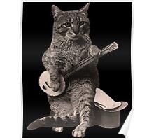 Cat Playing Banjo Guitar Poster
