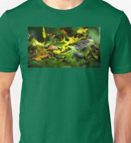 Tiny Brown Mushroom Among Fallen Leaves Unisex T-Shirt