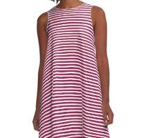 Cerise Stripes A-Line Dress
