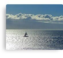 Silver sea and sail Canvas Print