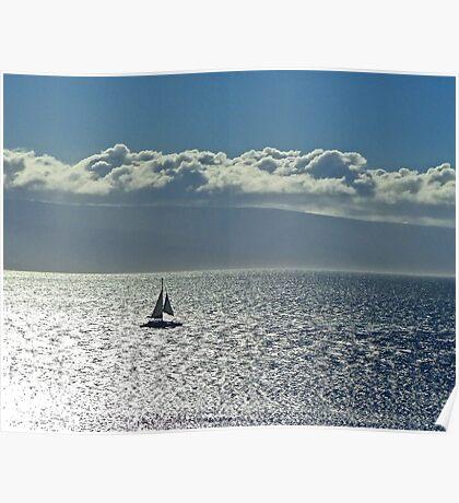 Silver sea and sail Poster