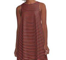 Aurora Red and Black Stripes A-Line Dress