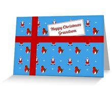 Grandson blue Christmas parcel card Greeting Card