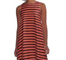 Fiesta and Black Stripes A-Line Dress