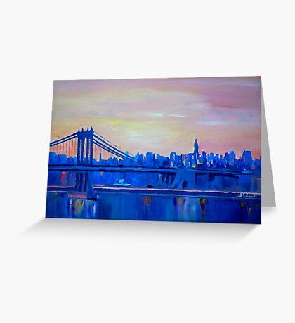 Blue Manhattan Skyline with Bridge and Vanilla Sky- Greeting Card