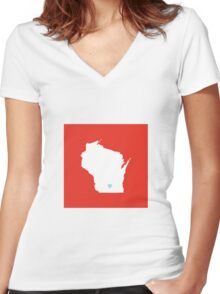 Wisconsin Love Women's Fitted V-Neck T-Shirt