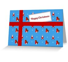 Blue Christmas parcel card Greeting Card
