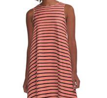 Peach Echo and Black Stripes A-Line Dress