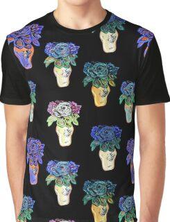 Black, Blue, Purple Colourful Floral Art Print Graphic T-Shirt