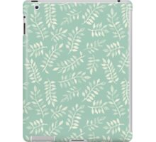 Painted Leaves - a pattern in cream on soft mint green iPad Case/Skin