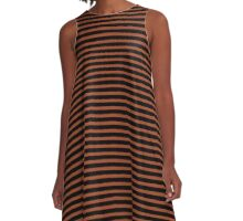 Potter's Clay and Black Stripes A-Line Dress