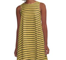 Spicy Mustard and Black Stripes A-Line Dress