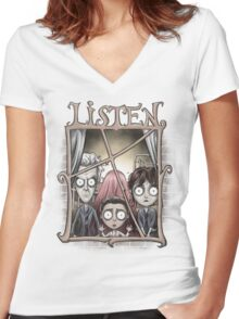 Listen Women's Fitted V-Neck T-Shirt