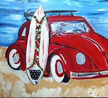 Volkswagon Bug Red with Surfboard by Maureen Zaharie