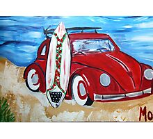 Volkswagon Bug Red with Surfboard Photographic Print