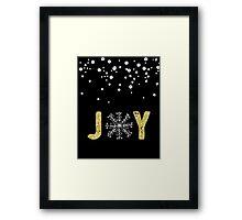 Joy - Gold Glitter with White Snowflakes Framed Print