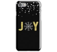 Joy - Gold Glitter with White Snowflakes iPhone Case/Skin