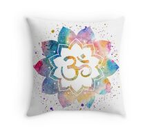 Om Sign Watercolor Throw Pillow
