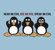 Three Wise Penguins Design Graphic Kids Tee