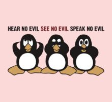 Three Wise Penguins Design Graphic One Piece - Long Sleeve