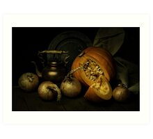 Still life with pumpkin and onions Art Print