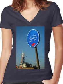 Kind Bicycle Path - Travel Photography Women's Fitted V-Neck T-Shirt