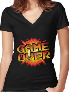 Retro game over Women's Fitted V-Neck T-Shirt