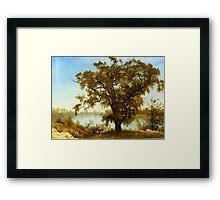 Albert Bierstadt, A View from Sacramento.  Vintage landscape oil painting fine art. Framed Print