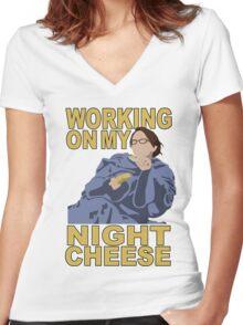 Liz Lemon - Night cheese Women's Fitted V-Neck T-Shirt