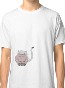 Cute sweet cat drink coffee  Classic T-Shirt