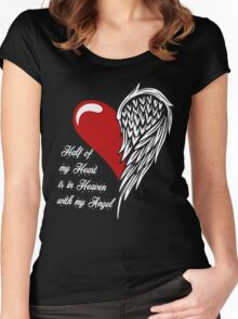 Half of my heart is in heaven with my angel T-shirt Women's Fitted Scoop T-Shirt