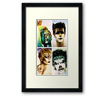 Four animal painted mannequins Framed Print