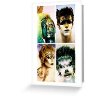 Four animal painted mannequins Greeting Card