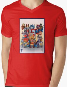 80's Cartoon Mashup Mens V-Neck T-Shirt