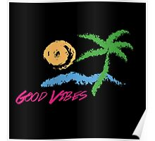 Good Vibes Beach Retro Sunset Print Design Poster