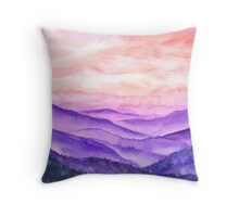 Hand drawn watercolor landscape of asian hills Throw Pillow