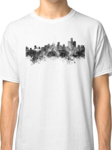 Detroit skyline in black watercolor Classic T-Shirt