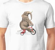 Elephant On Red Tricycle Unisex T-Shirt