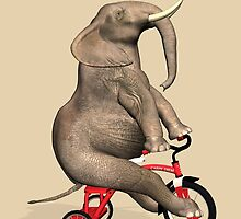 Elephant On Red Tricycle by Mythos57